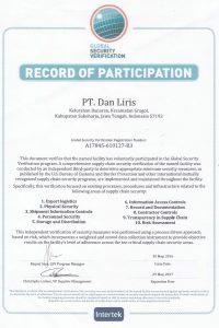 Sertifikat GSV C-TPAT (300516-290517)